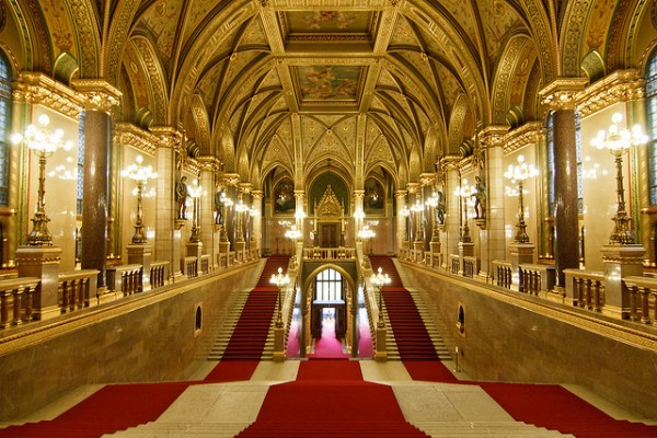 The staircase with the red carpet in the Hungarian Parliament