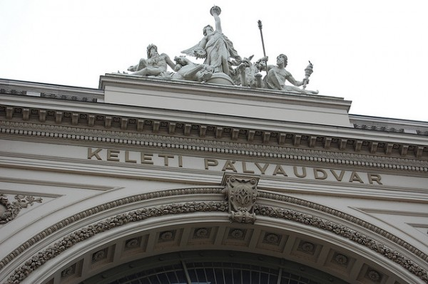 Group of statues on the facade of the Eastern Railway Station