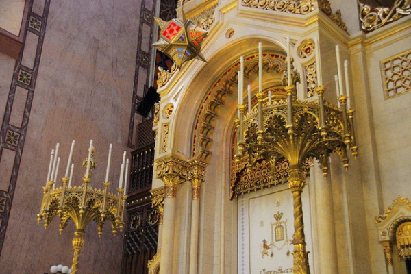 The Torah Ark and the chandeliers