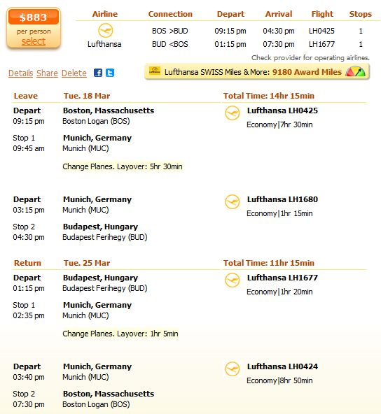 Lufthansa flight from Boston to Budapest details